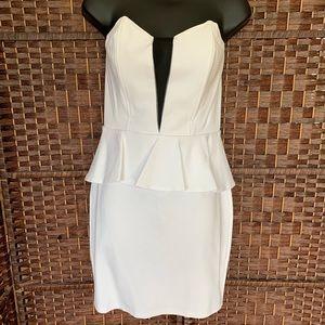 Strapless white & black cocktail dress